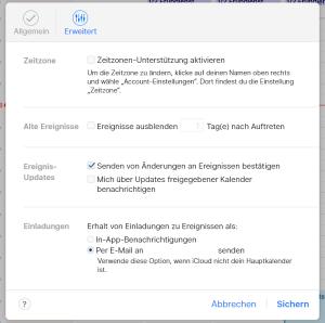 iCloud Kalender Einstellung