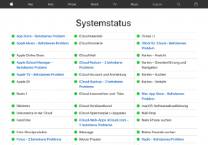 Screenshot Apple Systemstatus