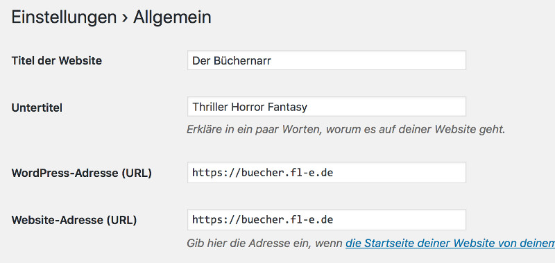 wordpress backend url umstellen