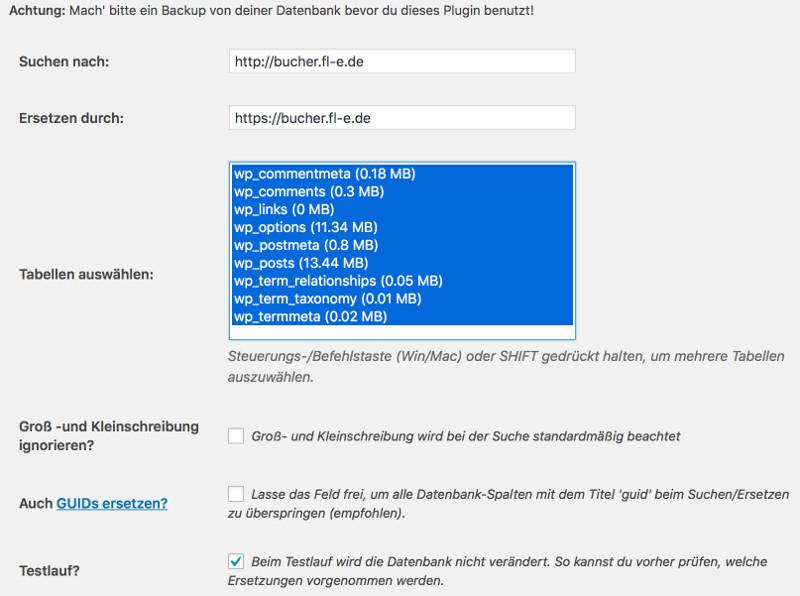 wordpress links ersetzen