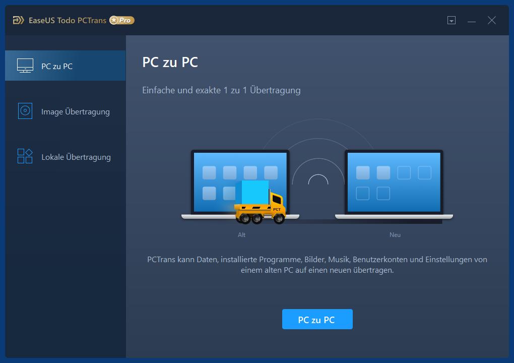 PCTrans Startbildschirm